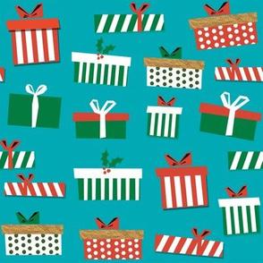christmas presents fabric - christmas fabric, holiday fabric, xmas fabric, christmas design, red and green, christmas presents wrapping paper, christmas gift wrap - turquoise