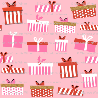 christmas presents fabric - christmas fabric, holiday fabric, xmas fabric, christmas design, red and green, christmas presents wrapping paper, christmas gift wrap - pink