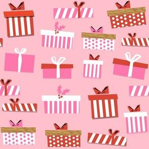 christmas presents fabric - christmas fabric, holiday fabric, xmas fabric, christmas design, red and green, christmas presents wrapping paper, christmas gift wrap - pink