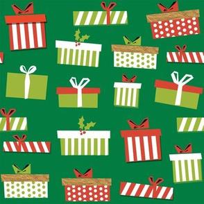 christmas presents fabric - christmas fabric, holiday fabric, xmas fabric, christmas design, red and green, christmas presents wrapping paper, christmas gift wrap - green