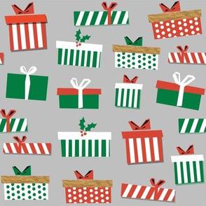 christmas presents fabric - christmas fabric, holiday fabric, xmas fabric, christmas design, red and green, christmas presents wrapping paper, christmas gift wrap - grey
