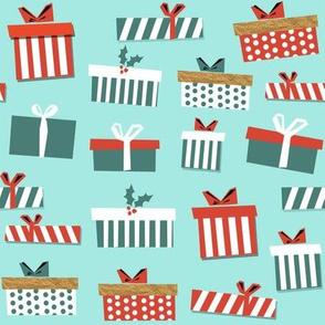 christmas presents fabric - christmas fabric, holiday fabric, xmas fabric, christmas design, red and green, christmas presents wrapping paper, christmas gift wrap - light