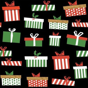 christmas presents fabric - christmas fabric, holiday fabric, xmas fabric, christmas design, red and green, christmas presents wrapping paper, christmas gift wrap - black