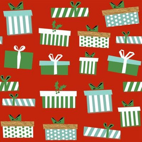 christmas presents fabric - christmas fabric, holiday fabric, xmas fabric, christmas design, red and green, christmas presents wrapping paper, christmas gift wrap - red