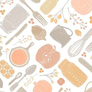 Pastel Fall Baking Vintage Kitchen Scatter // PIE, Mason Jar, Milk Jug, Pitcher, Whisk, Cast Iron Skillet, Silverware, Pumpkin Eggs, Apples, Acorns, Cranberries // Sing for Your Supper Modern Farmhouse Collection // Autumn Edition
