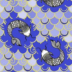 Persevere /Blue Chinoiserie  w/ gold lines