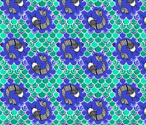 Persevere / blue/green    fabric by franbail on Spoonflower - custom fabric