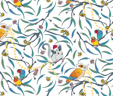 Summer Christmas under the Gum Trees fabric by colour_angel_by_kv on Spoonflower - custom fabric