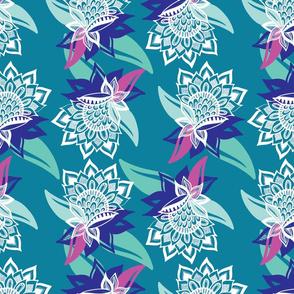 Native Flowers ( Turquoise background )