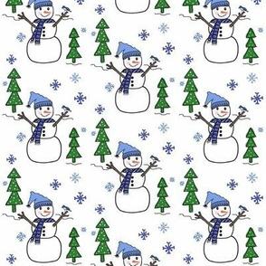 I'm a Tree ! I'm a Tree ! I'm a Tree ! Snowman :) blue hat  -small