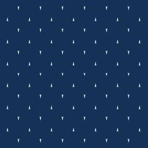Tiny Geometric Triangle Arrow Hand Drawn Indigo Blue