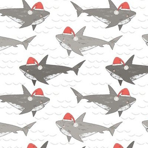 Christmas Shark Attack, novelty Christmas, cute sharks, christmas sharks