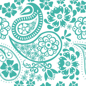 Paisley in Turquoise and white background Jumbo