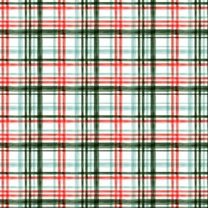 (extra small scale) Christmas watercolor plaid (mint) C18BS