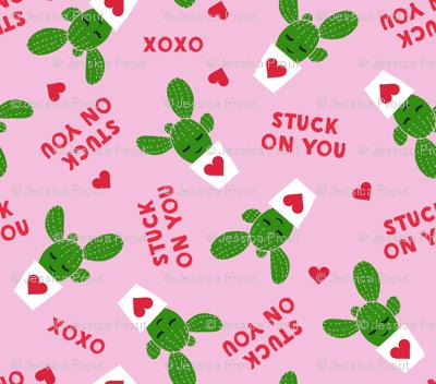 Stuck on you - Cactus Valentines - dark pink