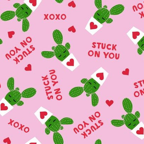 Stuck on you - Cactus Valentines - dark pink