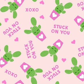 Stuck on you - Cactus Valentines - light pink