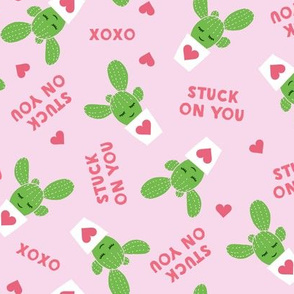 Stuck on you - Cactus Valentines - pink