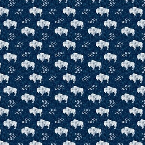 (extra small scale) distressed buffalo on dark blue  linen C18BS