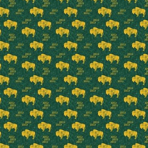 (extra small scale) distressed buffalo on green  linen - gold C18BS