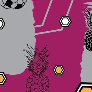 pineapple Festival-Fruit Delight. Seamless Repeat Pattern Background in Purple Yellow Black and White