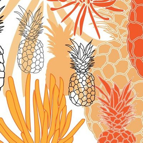 Pineapple and Succulent-Fruit Delight seamless Repeat Pattern illustration.Background in orange Red Black and White
