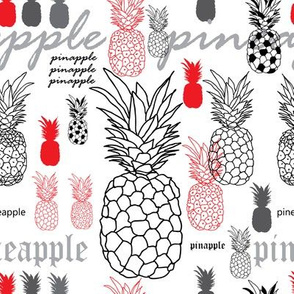 pineapple Breakfast-Fruit Delight. Seamless Repeat Pattern Background in Red Black and White