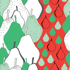 Pear Party-Fruit Delight seamless Repeat Pattern illustration.Background in Green Red Black and White