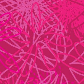 Abstract Pink Flowers-Monochromatic Flowers. Seamless repeat Pattern Background in Punchy Pink.
