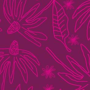 Echinacea and Daisy-Monochromatic Flowers. Seamless Repeat Pattern Background .