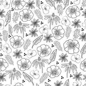 Line Flowers Illustration-Monochromatic Flowers. Seamless Repeat Pattern Background .