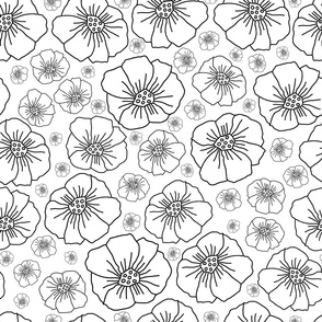 Line Poppies Illustration-Monochromatic Flowers.Seamless Repeat Pattern Background in Black and White.