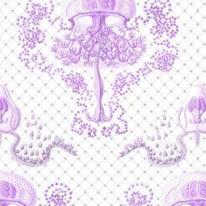 Haeckel's jellyfish damask purple
