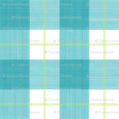 Double Buffalo Plaid in Turquoise and Citron