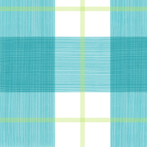 Double Buffalo Plaid in Turquoise and Citron fabric by danika_herrick on Spoonflower - custom fabric