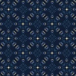 Traditional Indigo Blue Japanese Quilt Grid Ornament