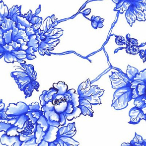 chinoiserie floral on white
