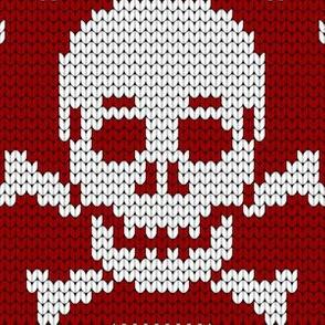 08161746 : knit skull 1x : crimson