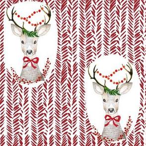 "8"" Fancy Deer Holiday Red"