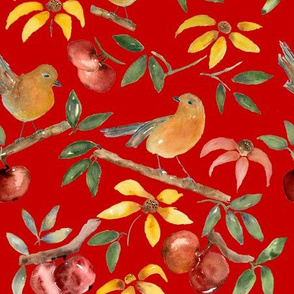 Birds in Paradise Christmas red