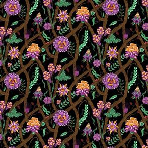 indian floral on black
