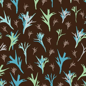 Abstract Fern-Virgin Forest seamless Repeat Pattern illustration. Background in Green Blue and Orange