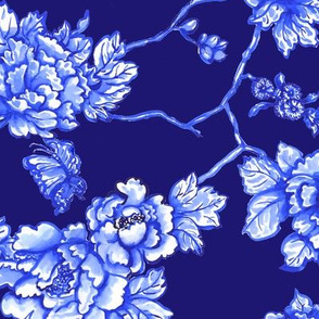 chinoiserie floral on navy
