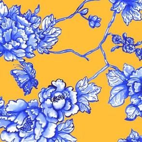 chinoiserie floral on golden yellow
