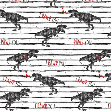 "5"" I Love You in Dinosaur // Grunge Stripes fabric by hipkiddesigns on Spoonflower - custom fabric"