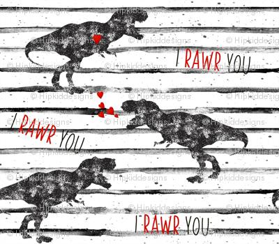 "9"" I Love You in Dinosaur // Grunge Stripes"