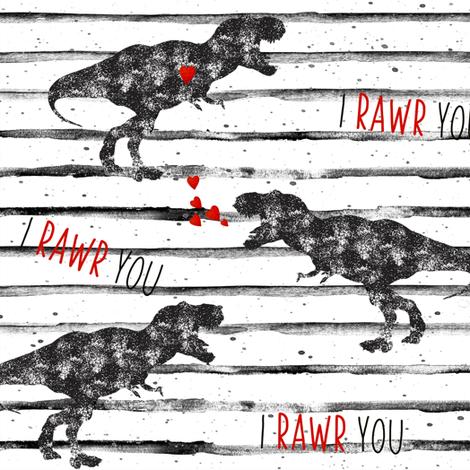 "9"" I Love You in Dinosaur // Grunge Stripes fabric by hipkiddesigns on Spoonflower - custom fabric"