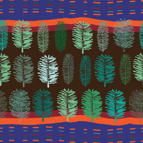 Forest at Sunset-Virgin Forest seamless Repeat Pattern illustration. Background in Green Blue and Orange