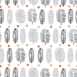 White Forest-Virgin Forest illustration seamless Repeat Pattern Background