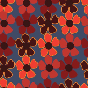red,orange and burgundy flowers